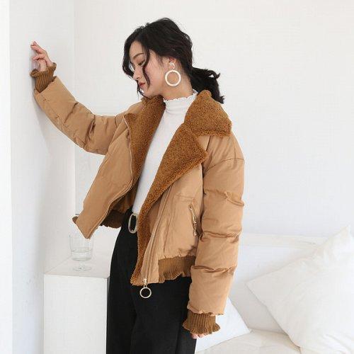 women zipper up cotton blend short coat