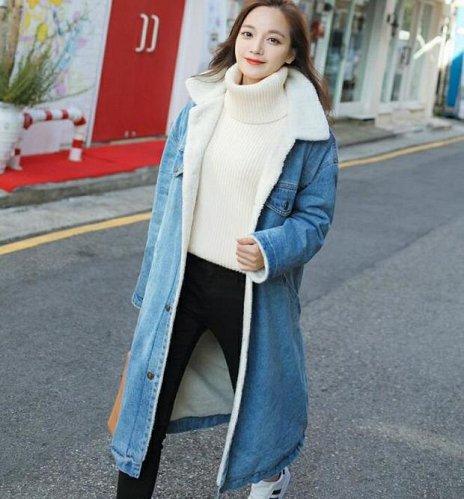 women denim long coat