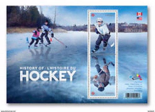 Canada History of Hockey Souvenir Sheet Of 2 Stamps block MNH 2017