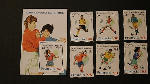 Sahara Soccer Football France World Cup 1998 set of 6 souvenir sheet unused MNH