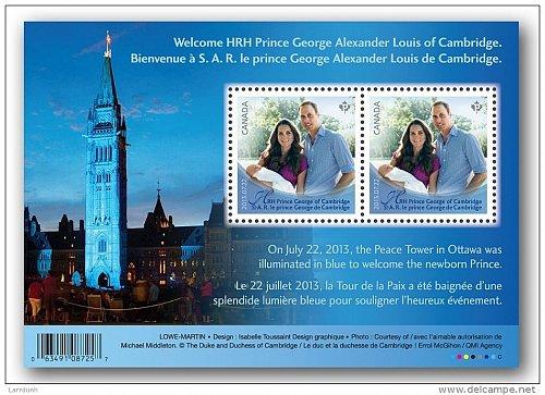 Canada 2685 HRH Prince George of Cambridge souvenir sheet block MNH 2013