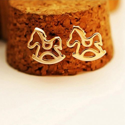 cute gold plated horse earring