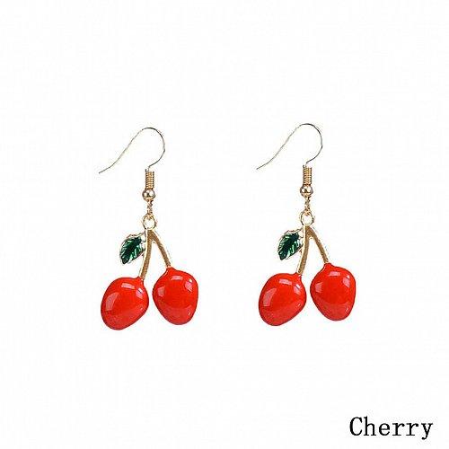 Women cute fruit cherry earring