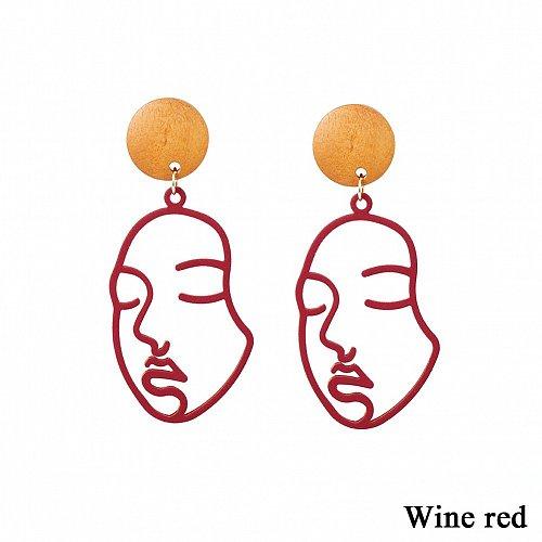Women funny face earring RED