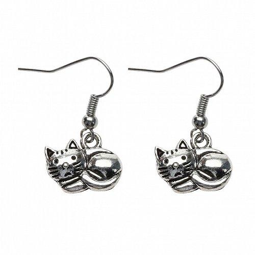 Women funny cat earring