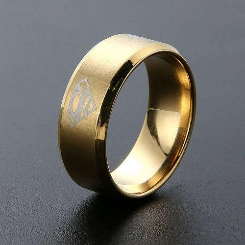 fashion men ring titanium steel gold ring