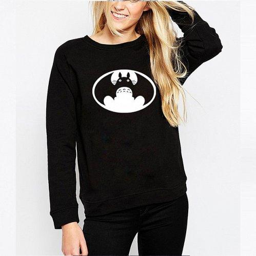 women cute printed top hoodies pullover black