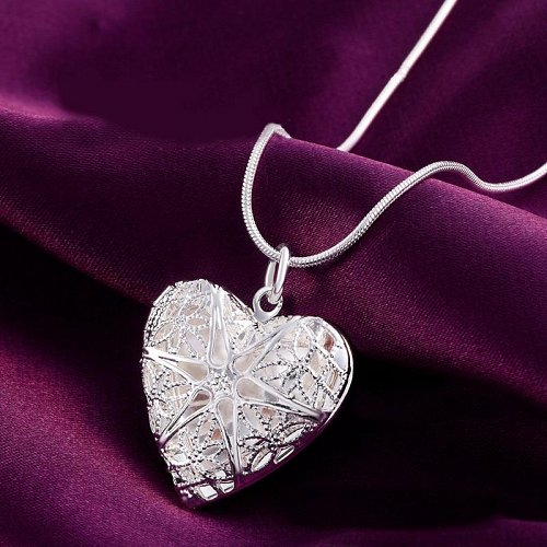 sterling silver plated heart pendant necklace