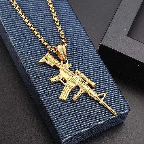 Men women gun pendant necklace
