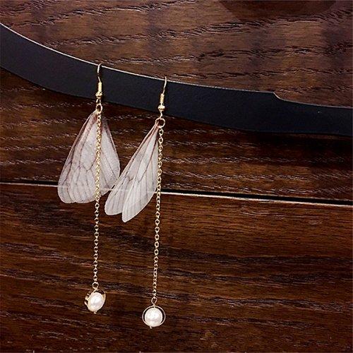 Women butterfly pearl charm earring