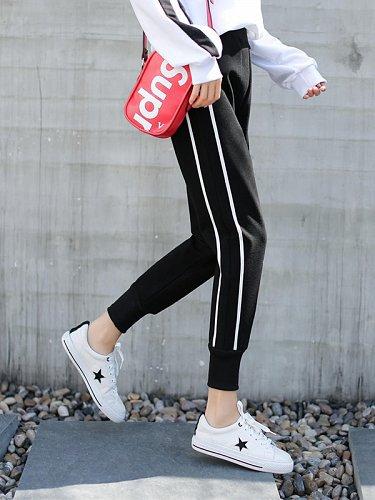 women elastic waist long pants