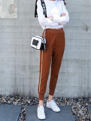 women elastic waist sports pants