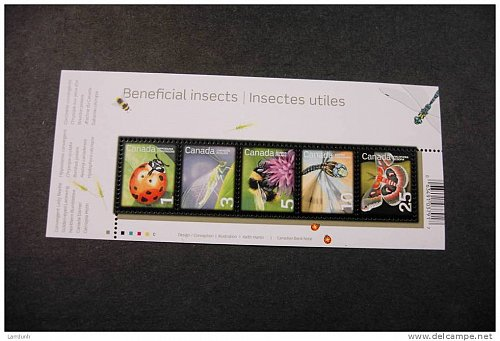 Canada 2238a souvenir sheet beneficial insects lady beetle lacewing bumblebee darner