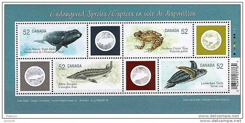 Canada Endangered Species souvenir sheet Whale Cricket Frog Sturgeon Turtle 2007