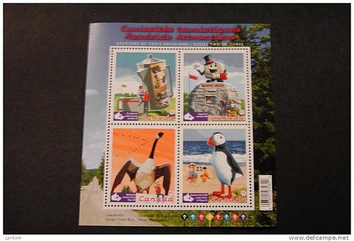 Canada 2397 Roadside Attractions coffee pot happy rock Wawa Goose Puffin sheet 2010