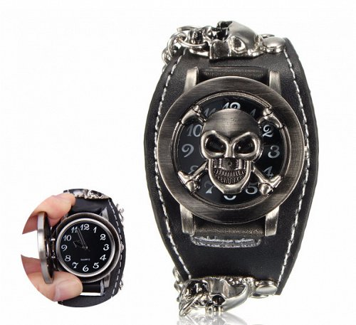 fashion men women skull watch