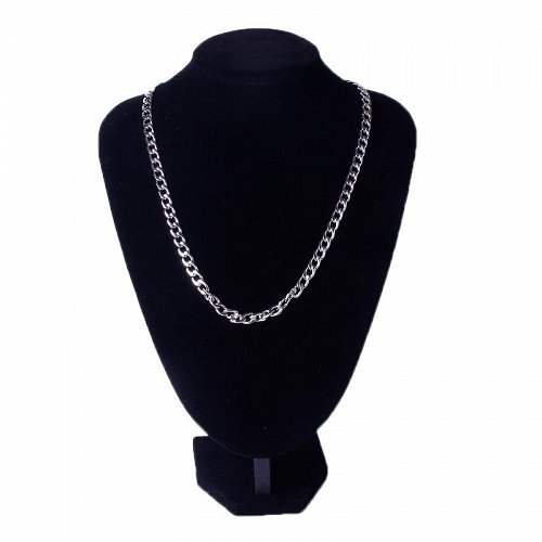 men silver plated stainless steel 55cm necklace