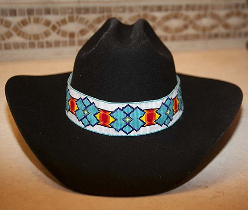 Native American Lakota Extra Wide Hat Band Hand Beaded Hatband
