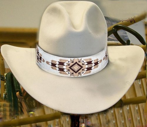 Cheyenne Native American Style Extra Wide Hat Band Hand Beaded Hatband