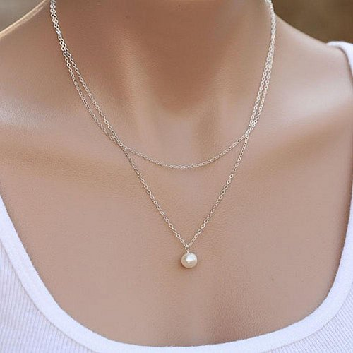 women silver plate pearl necklace