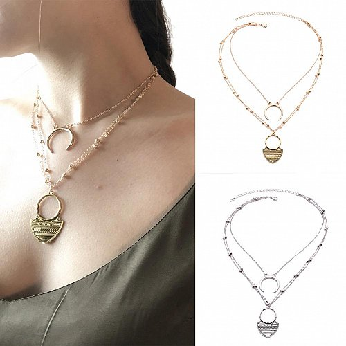 women gold/silver plated layers necklace