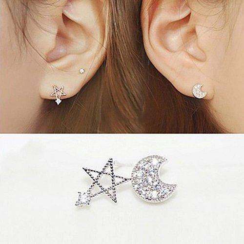 women 1 set silver plated earrings