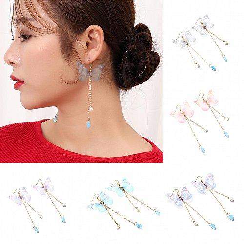 1 pair women butterfly earrings