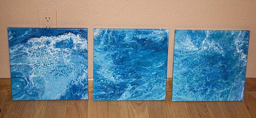Original Modern Contemporary Abstract Painting Trio, Set of Three