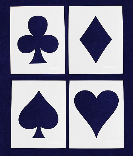 Playing Card Suits-4 Piece Set- 14 Mil Mylar Crafts/Sewing/Painting