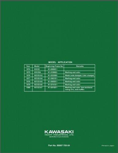 1974-1982 Kawasaki KE125 Service & Parts Manual on a CD