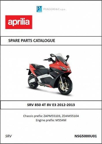 Aprilia SRV 850 / SRV 850 ABS - ATC Scooter Service & Parts Manual on a CD