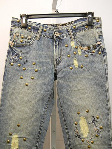 Women Boot Cut Jeans Women SIZE 3 Distressed Embellished Stonewashed 30X32