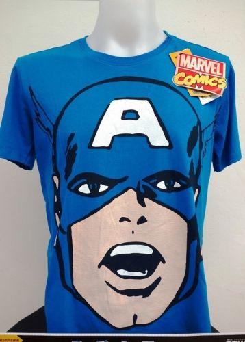 Captain America White blue 100% T-Shirt The Avengers Super Hero Marvel *113