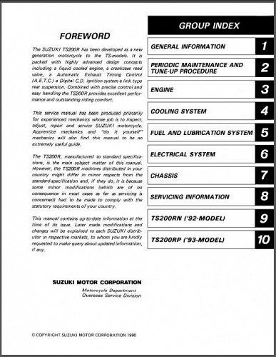 1991 1992 1993 Suzuki TS200R Service Repair Manual on a CD