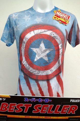 Captain America Logo Cotton 100% T-Shirt The Avengers Super Hero Marvel *