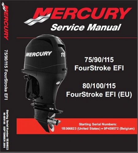 Mercury 75 90 115 EFI / 80 100 115 (EU) EFI Outboard Motors Service Manual CD