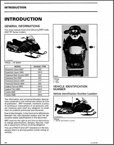 2007 Ski-Doo RF ( Expedition Freestyle Tundra ) Snowmobiles Service Manual CD