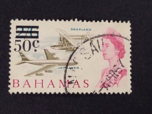 Bahamas 1v used 1966 Decimal Surcharge SG 284 SeaPlane Fine Used