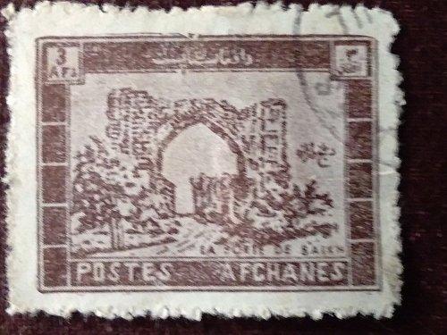 Afghanistan used 1v Scott # 662, 3af chocolate (1963) Balkh Gate