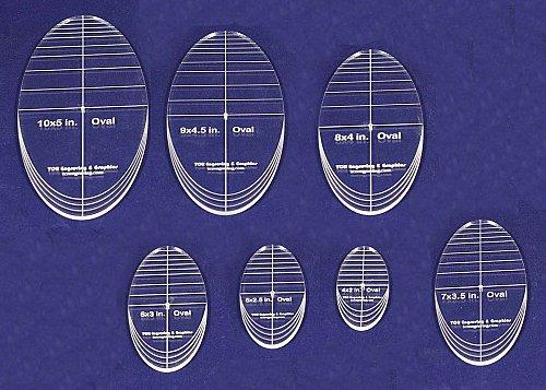 "7 Piece Quilt Ovals Templates 1/4 "" -4""-10"" -Multi Purpose"