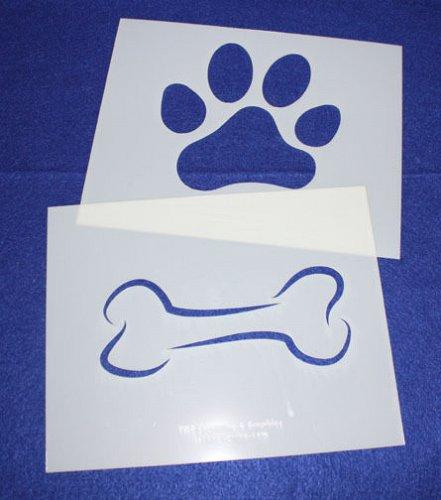 2 Pc Set -Mylar 14 Mil Dog Bone Paw Print LG Stencils Painting/Crafts/Stencil