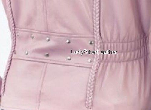 LADIES BIKER Black BRAIDED Premium Leather MOTORCYCLE Jacket CINCHED Waist STUDS