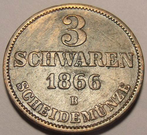 Oldenburg 1866-B 3 Schwaren~Rare Only 36,000 Minted~Free Shipping