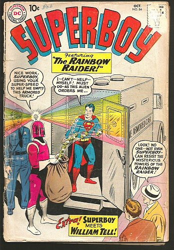SUPERBOY #84 DC Comics 1960 Silver Age Ad for 1st JLA too Rainbow Raider+Wm Tell