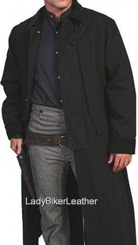 Mens ALL WEATHER Black OR Dark Brown CANVAS DUCK'N Trench Coat MOTORCYCLE DUSTER