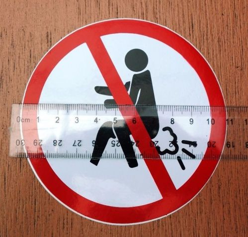 Sticker Do not Fart Sign Non Relfect Round size 4.0 inch (10. cm ) free shipping
