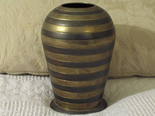 BRASS ORNATE VASE 8x5 With Black Accent Rings Used