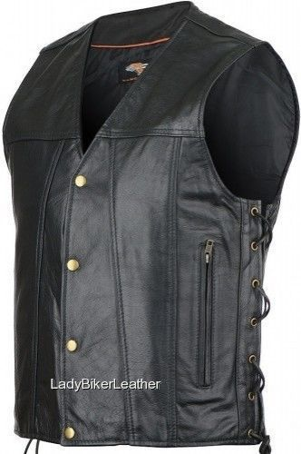 The GAMBLER Black Leather CONCEALED CARRY Motorcycle Vest w/GOLD Hardware LACES
