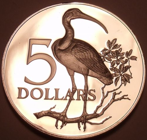 Rare Silver Proof Trinidad & Tobago 1971 $5.00~11,000 Minted~Scarlet Ibis~Fr/Shi