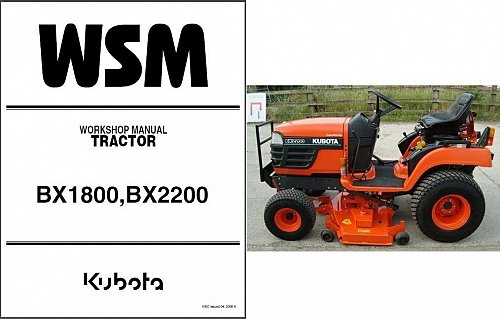 Kubota BX1800 - BX2200 Compact Tractor / Riding Mower WSM Service Manual on a CD